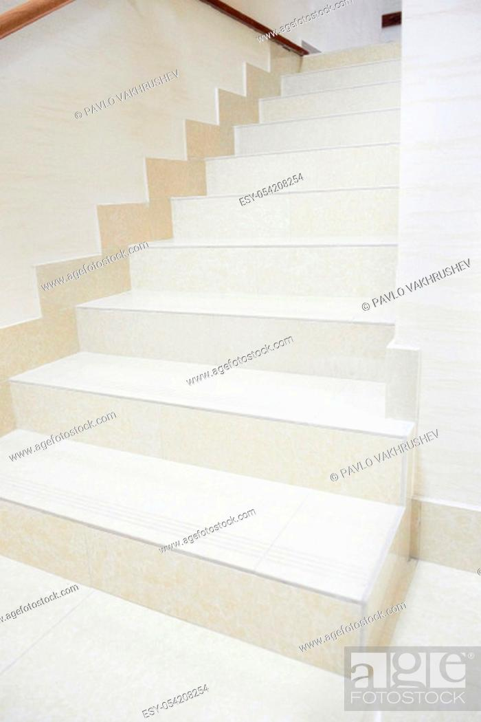 Stock Photo: White marble staircase in the modern house.