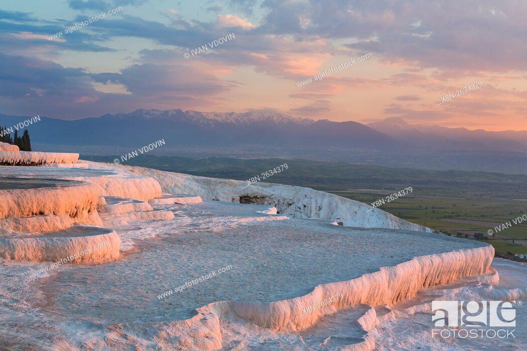 Stock Photo: Travertine terrace, Pamukkale, Denizli Province, Turkey.