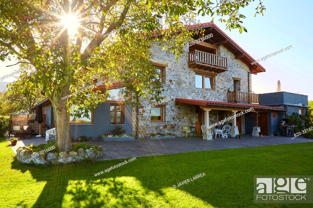 Stock Photo: Urain Apartments, Basque farmhouse, Deba, Gipuzkoa, Basque Country, Spain, Europe.