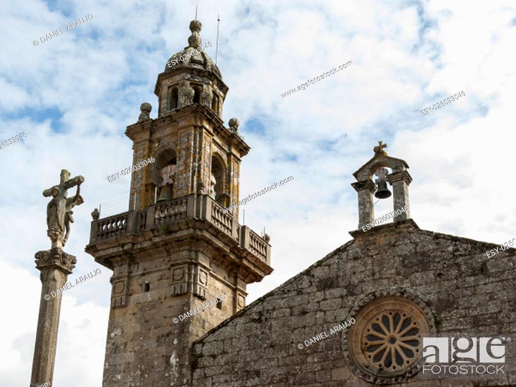 Stock Photo: Facade of the romanesque ex-collegiate church of Santa Maria (Muros, Spain).