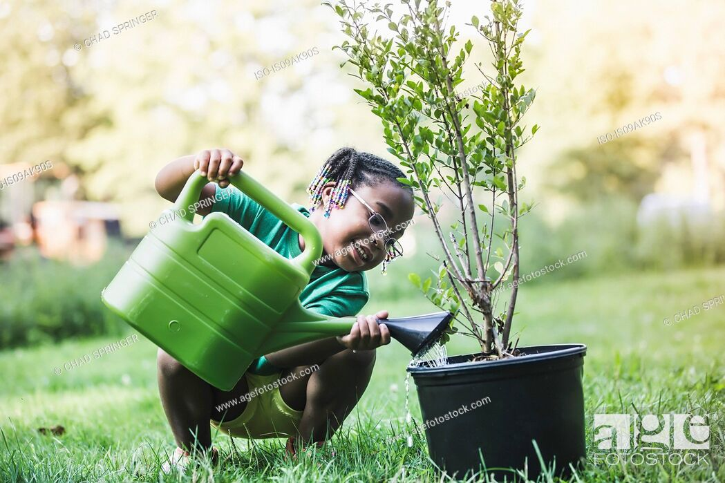 Stock Photo: Girl watering plant in parkland eco camp.