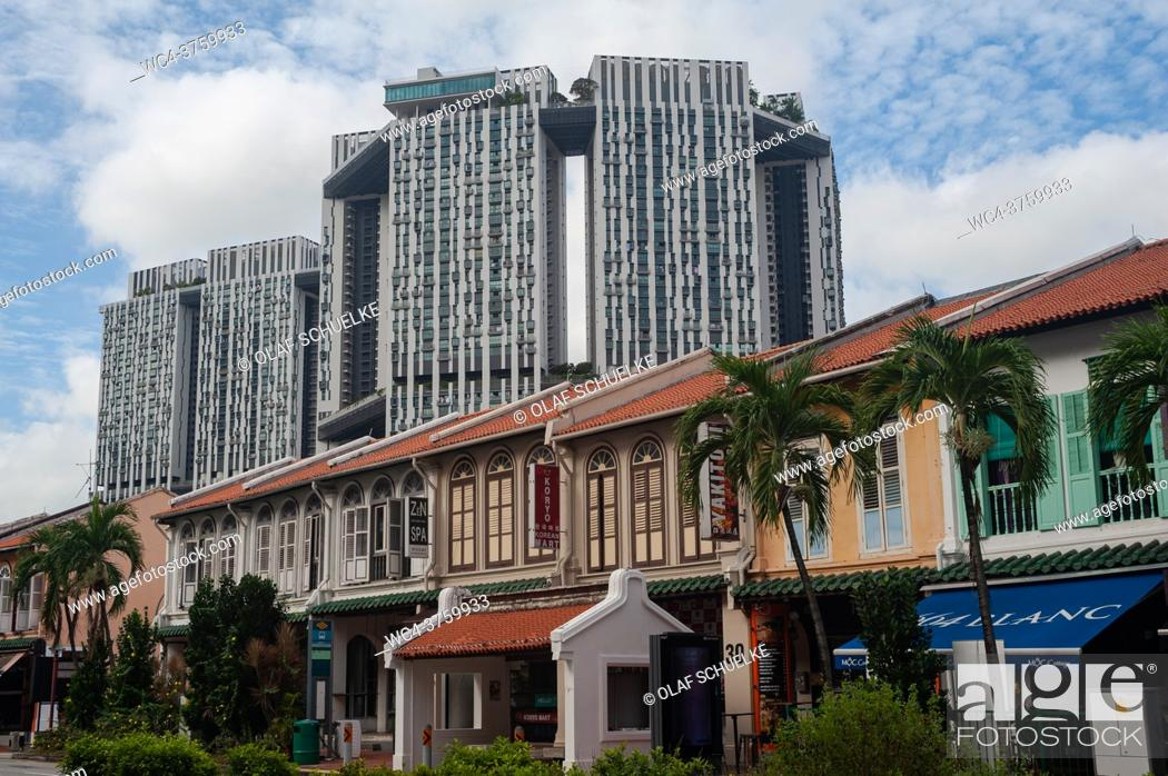 Stock Photo: Singapore, Republic of Singapore, Asia - Traditional shophouses along Tanjong Pagar Road connecting the two historic districts of Chinatown and Tanjong Pagar.