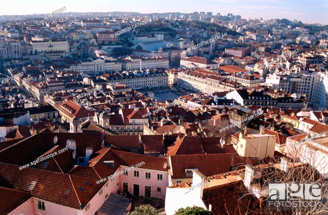 Stock Photo: Baixa quarter from St. George castle, Da Figueira Square. Lisbon. Portugal.