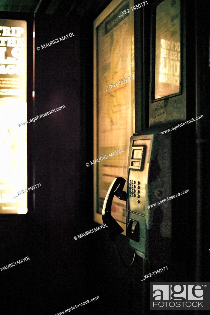 Stock Photo: Futuristic / retro Public Telephone at night, Liverpool, UK.