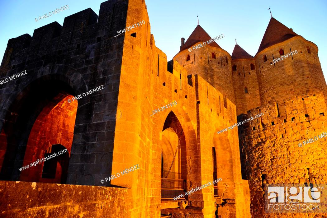 Stock Photo: Gate of Narbonne or Porte Narbonnaise. Entry to the city of Carcassone, Languedoc-Roussillon, France.