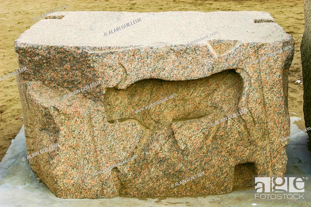 Stock Photo: Egypt, Nile Delta, Tanis, the Western gate, called door of Sheshanq III : Bull in Sunk relief.