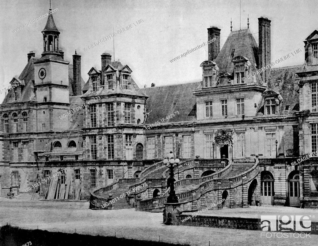 Stock Photo: One of the first autotype photographs of the palace of fontainebleau, circa 1880.