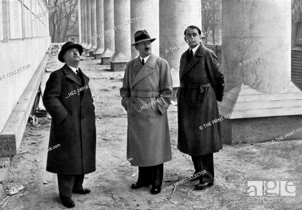 Stock Photo: Adolf Hitler, with architects Professor Leonhard Gall and Albert Speer, Munich, Germany, 1934. Hitler (1889-1945), Gall 1884-1952) and Speer (1905-1981).