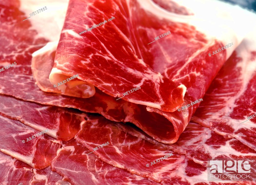 "Photo de stock: Iberian ham slices; """"of acorn""""."