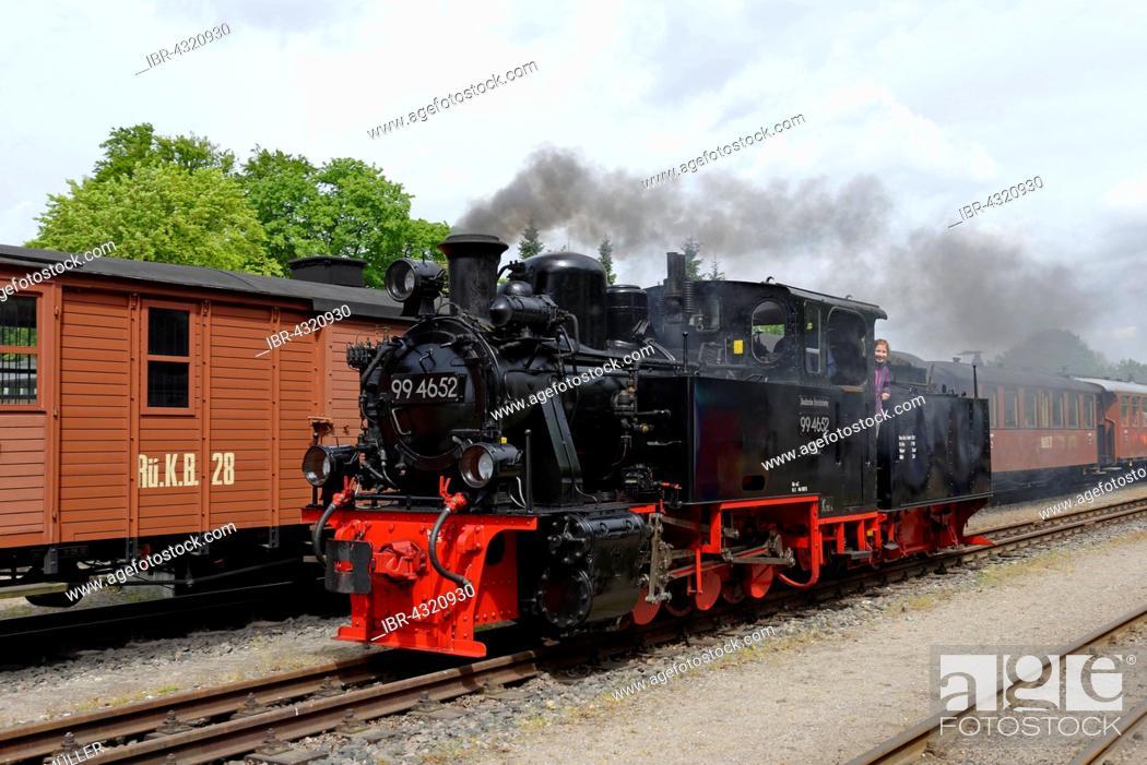 Stock Photo: Steam locomotive, Rügensche Kleinbahn or Rasender Roland, narrow gauge railway, at the station in Putbus, Rügen, Mecklenburg-Western Pomerania, Germany.