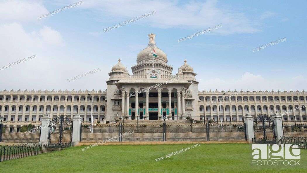 Stock Photo: Facade of a government building, Vidhana Soudha, Bangalore, Karnataka, India.