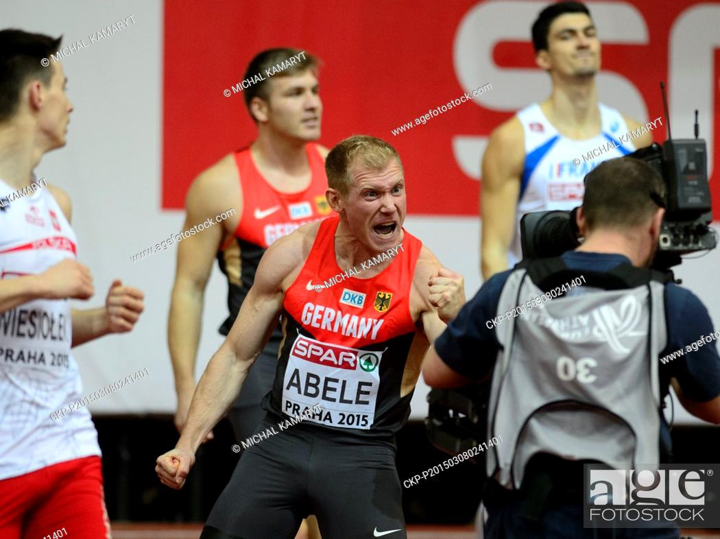 Stock Photo: Germany's Arthur Abele celebrates after the winning the 60m hurdles of the men's heptathlon during the European Athletics Indoors Championships in Prague.