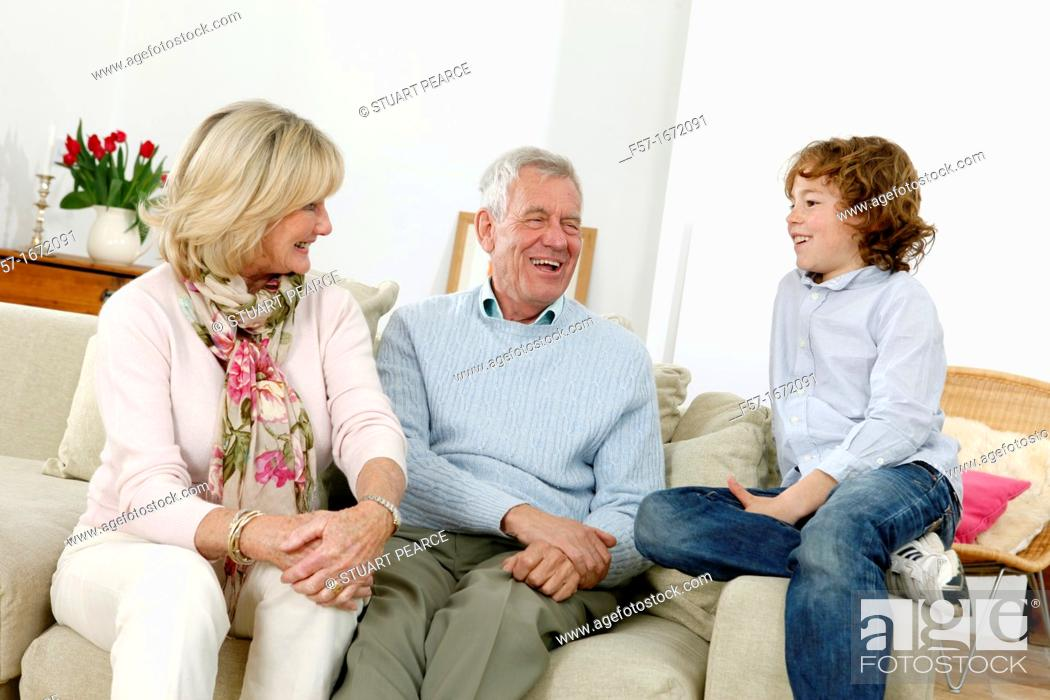 Stock Photo: Grandparents and grandson.