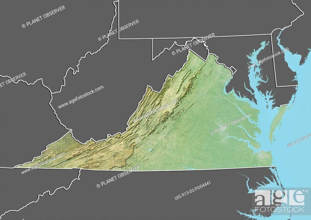 Relief Map Of Virginia.Relief Map Of The State Of Virginia United States This Image Was