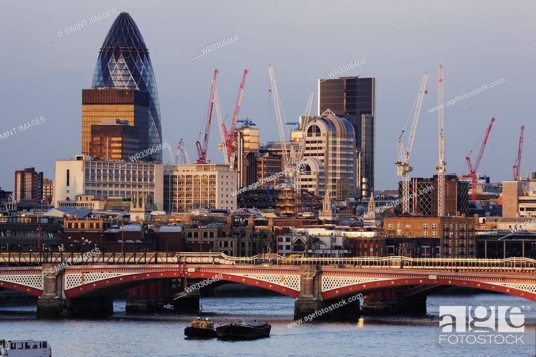 Stock Photo: London Skyline and the Waterloo Bridge.
