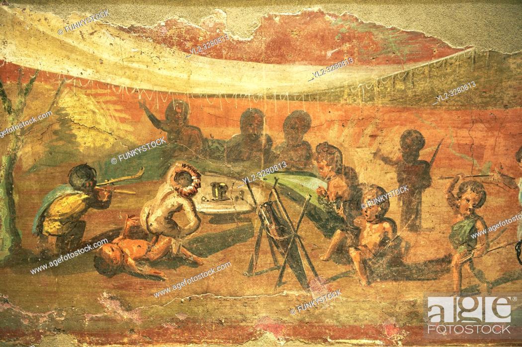 Stock Photo: Roman Erotic fresco with pigmies from Csa Detto del Medico Peristyle in Pompeii. 50-97 AD, Naples Archaological Museum inv no: 113196.