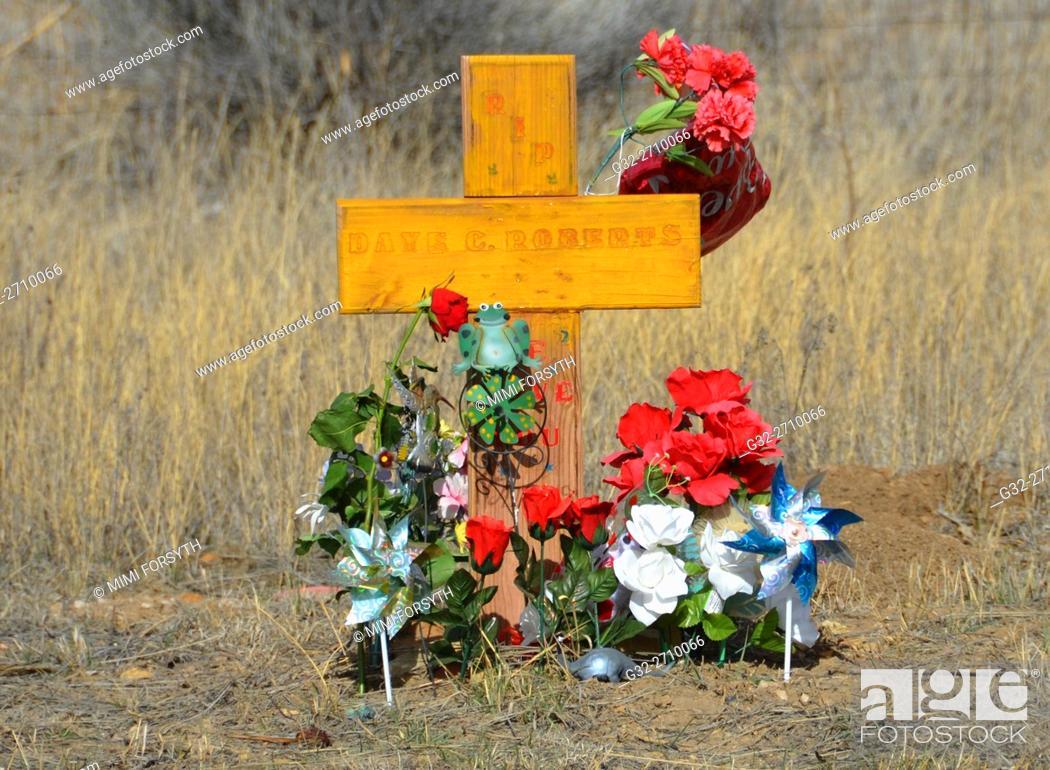 Stock Photo: Roadside memorial to automobile accident victim. New Mexico, USA.