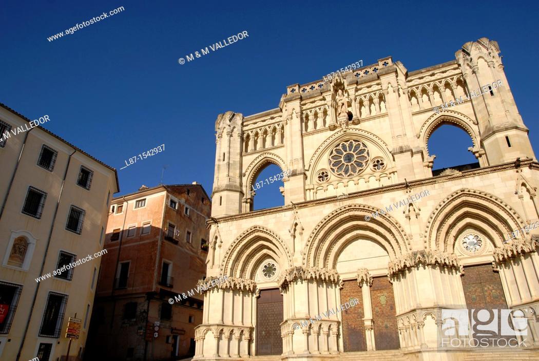 Stock Photo: Front of cathedral 12th century, Cuenca  Castilla-La Mancha, Spain.