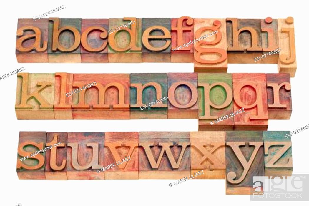 Stock Photo: English alphabet in wood letterpress type.