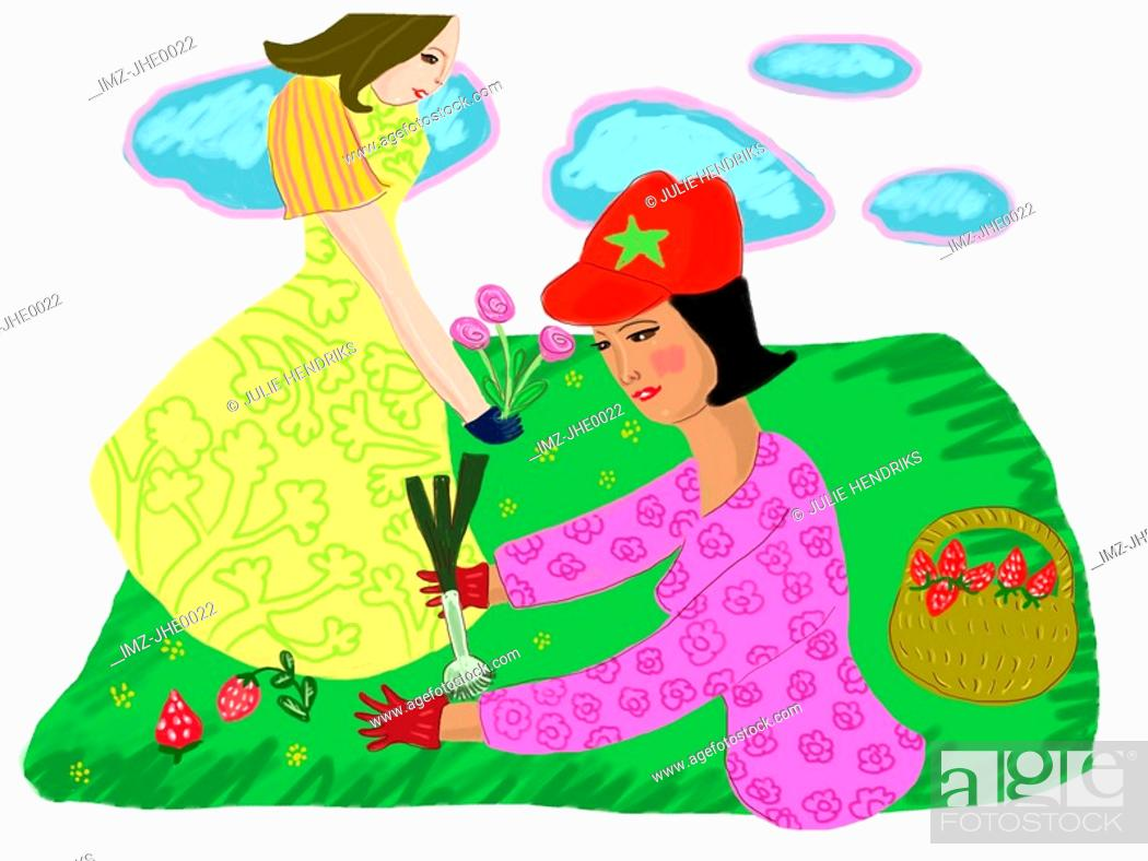 Stock Photo: Two women gardening on a fine day.