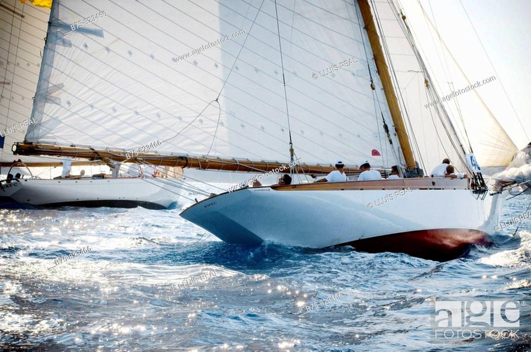 Stock Photo: Regata barcos de epoca, mar mediterraneo, menorca.