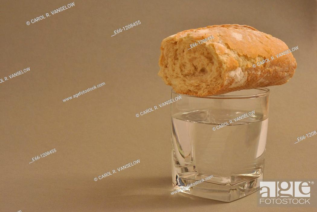 Stock Photo: bread and water.
