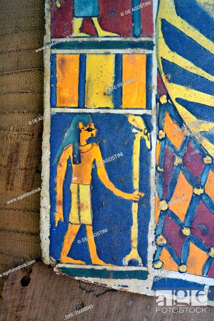 Stock Photo: Cartonnage (Ancient Egyptian mummy case) covering the chest of a mummy of a member of the middle class, Saqqara, Egypt. Egyptian Civilisation, Dynasty XXX.
