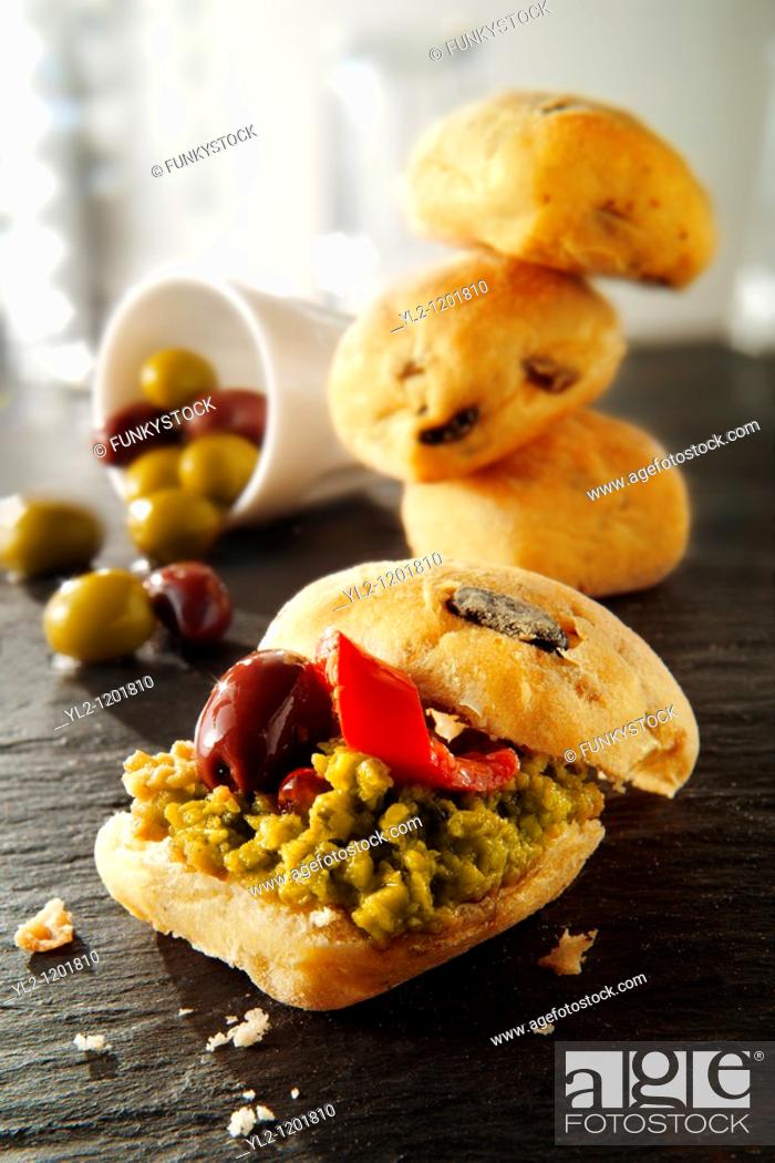 Stock Photo: chiabatta rolls with olive tapanade.