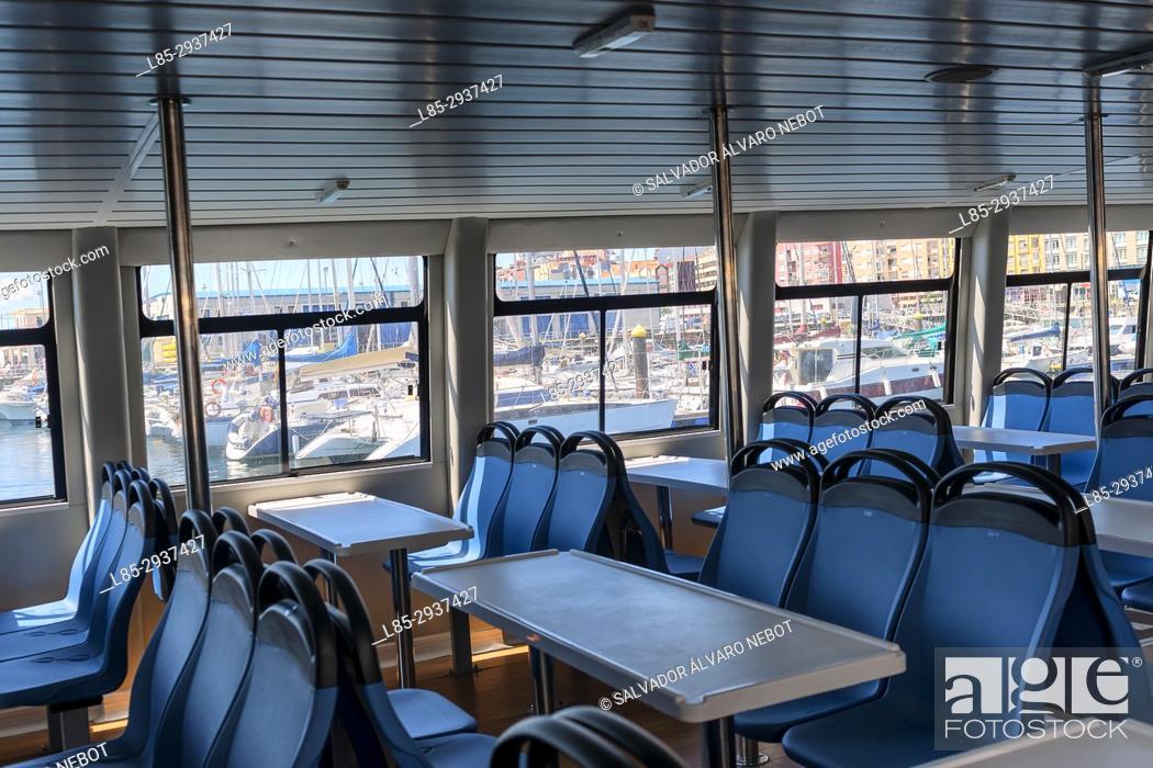 Stock Photo: Ferry in the Rias Baixas, Pontevedra, Spain, Europe.