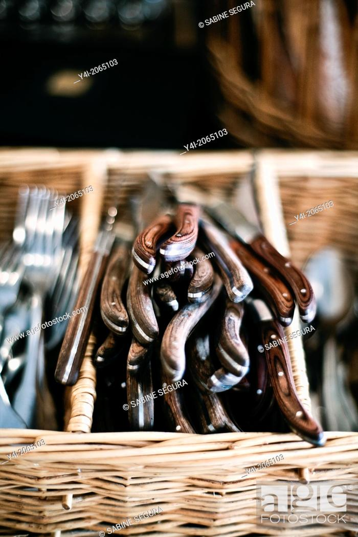 Stock Photo: Knives. Cafe Tupina. French cafe in Bordeaux. Bordeaux. Gironde. Aquitaine. France. Europe.
