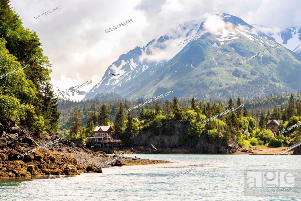 Stock Photo: Waterfront buildings by snow capped mountains, Halibut Cove, Kachemak Bay, Alaska, USA.