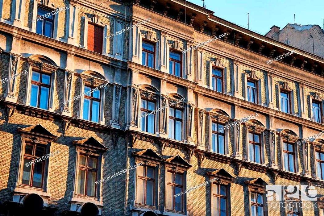 Stock Photo: Townhouse building facade in an old district, Budapest.