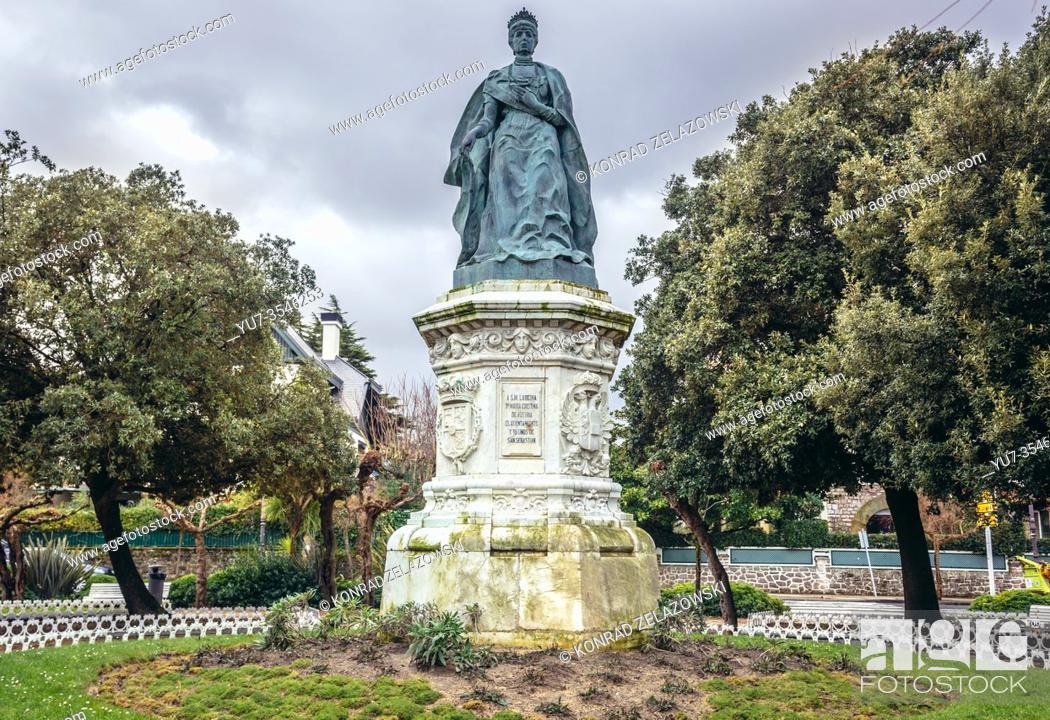 Stock Photo: Statue of Maria Christina of Austria in Ondarreta Park in San Sebastian coastal city located in the Basque Autonomous Community, Spain.