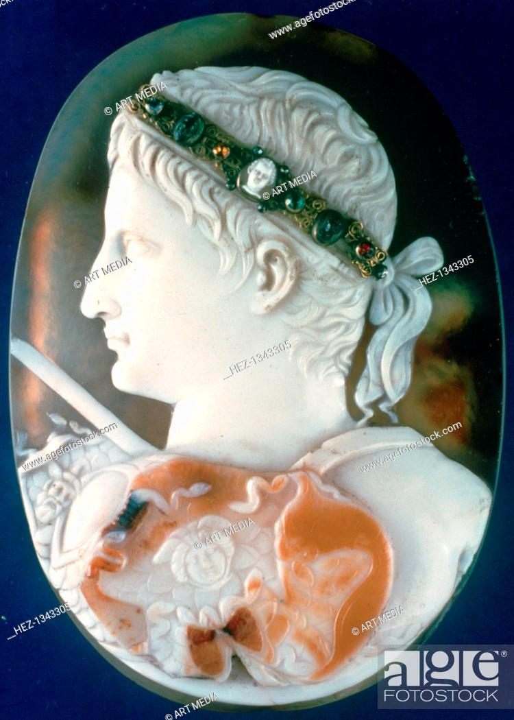 Stock Photo: Cameo of the Emperor Augustus. This cameo was carved from a three-layered sardonyx. It is a fragment of a larger portrait of the first Roman emperor.