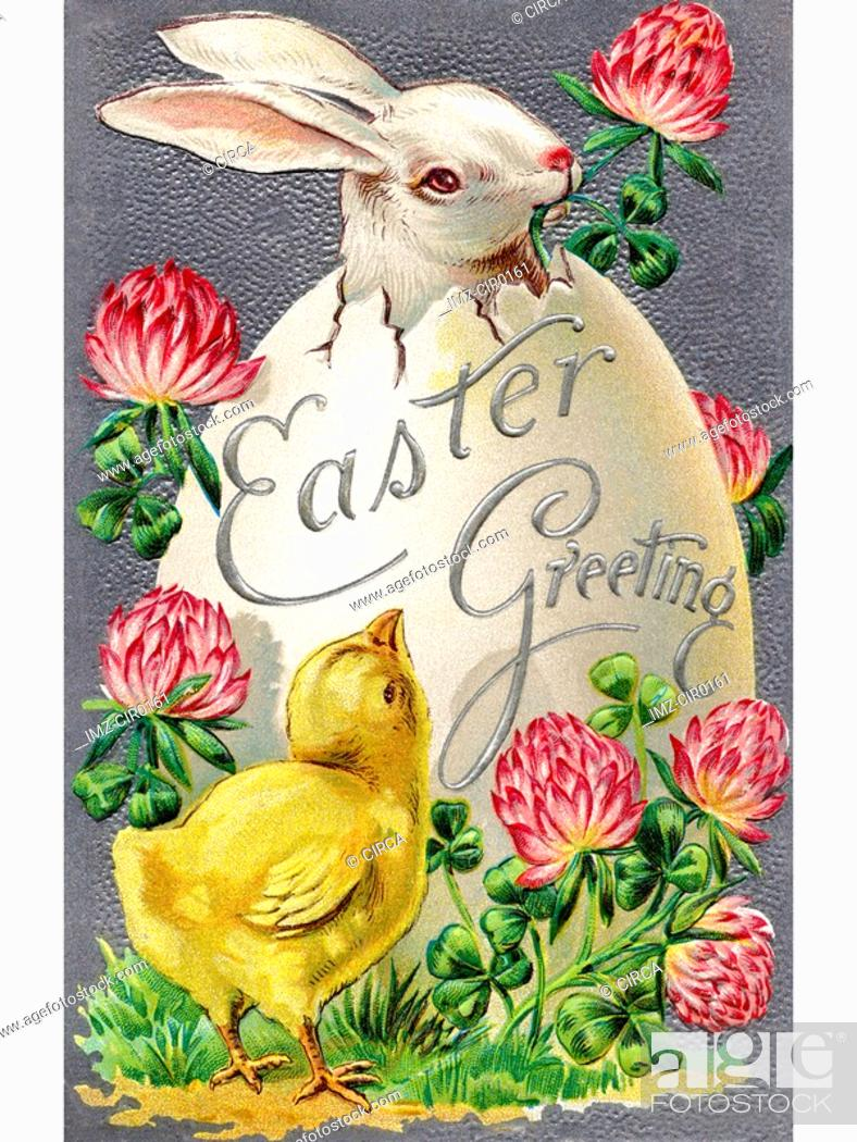 Stock Photo: A vintage Easter postcard of a chick looking at a rabbit hatching from an egg.