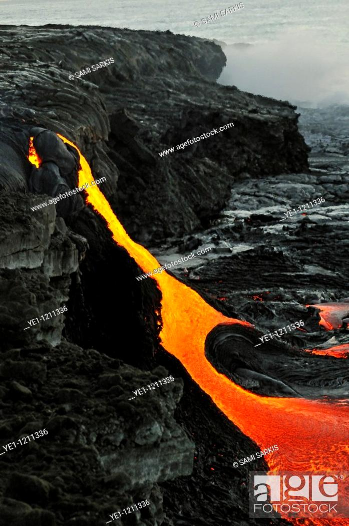 Stock Photo: River of molten lava flowing to the sea, Kilauea Volcano, Hawaii Islands, United States.