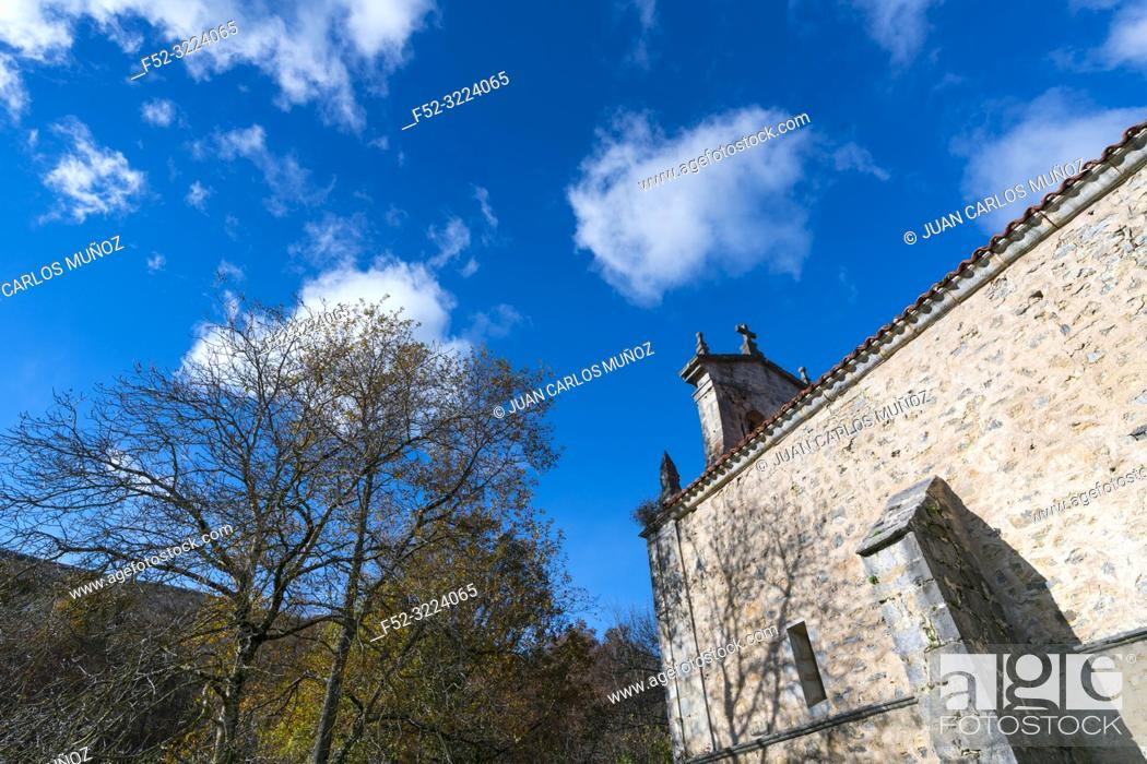 Stock Photo: Forest and Ermitage, Ermita de Irias, San Pedro de Soba, Soba Valley, Valles Pasiegos, Cantabria, Spain, Europe.