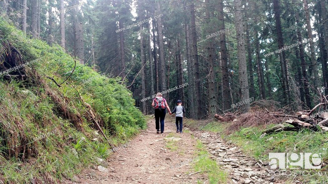 Stock Photo: Mother and son climb the mountain road up hill holding hand Woman with backpack and child walking in forest nature.