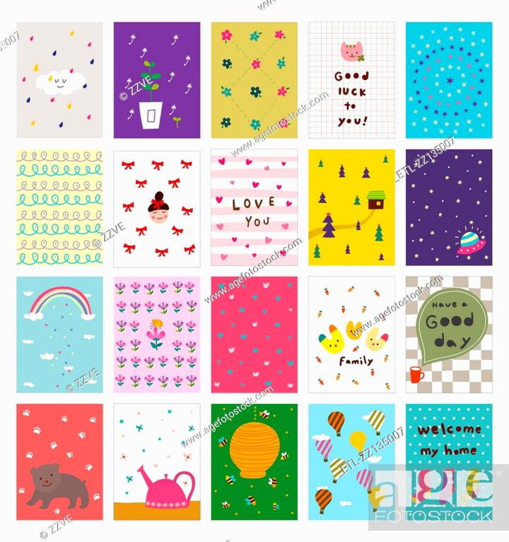 Stock Photo: Postcards of various patterns.