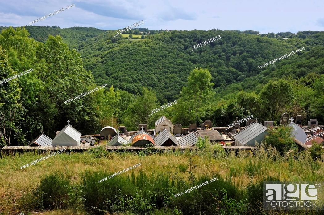 Stock Photo: cemetery of Queuille on the plateau of Combrailles, Puy-de-Dome department, Auvergne-Rhone-Alpes region, France, Europe.