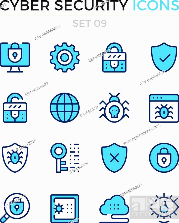 Stock Vector: Cyber security icons. Vector line icons set. Premium quality. Simple thin line design. Modern outline symbols, pictograms.
