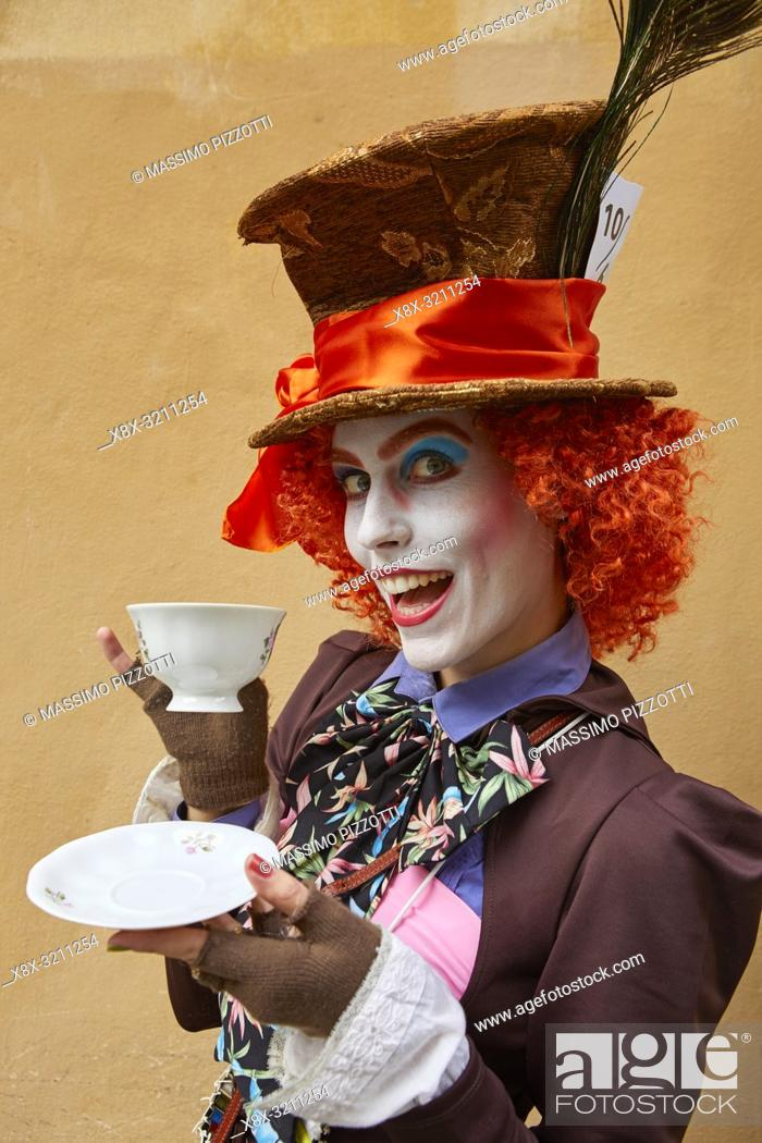 Stock Photo: Cosplay of the Mad Hatter at Lucca Comics 2018.