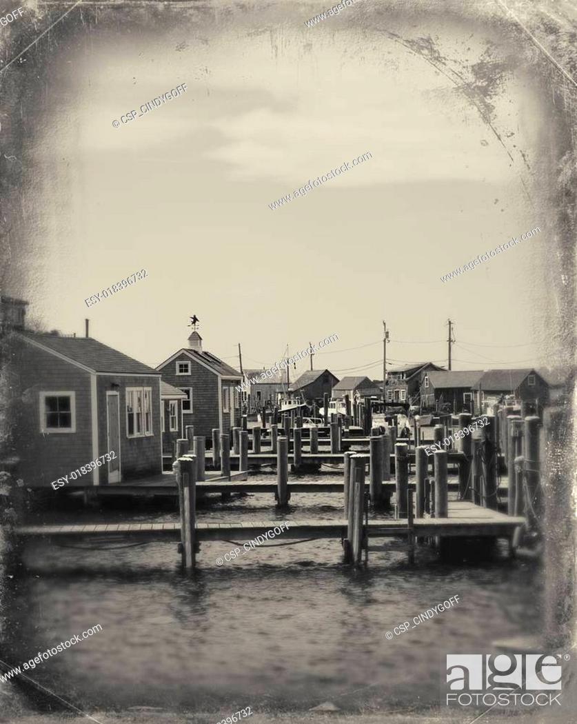 Stock Photo: Fishing village in Massachusetts.