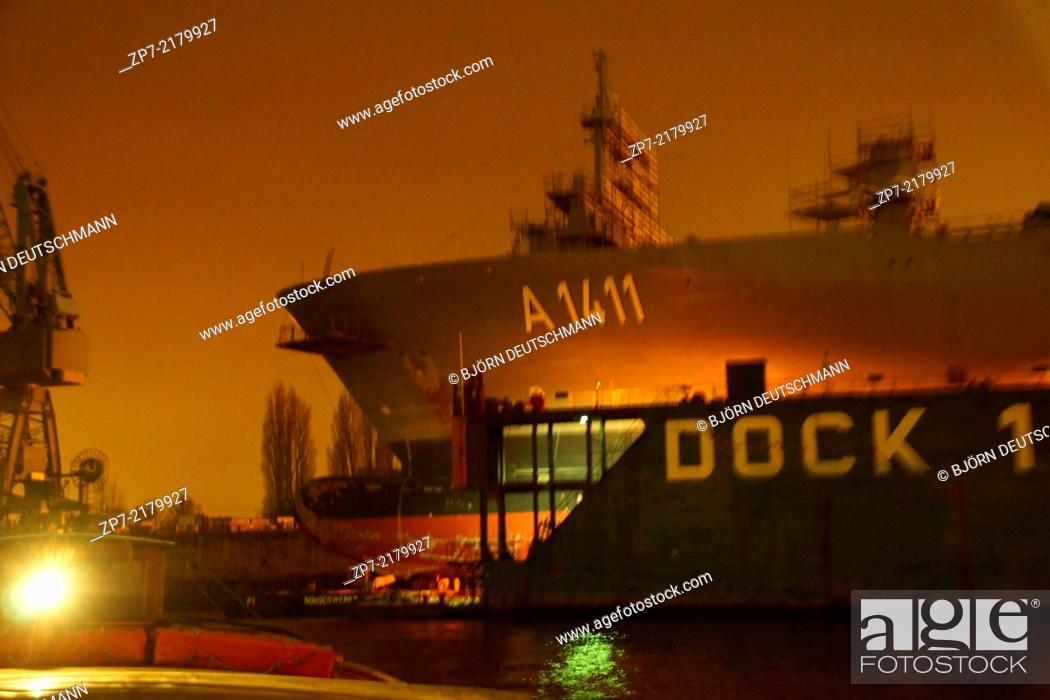 Stock Photo: The Supply ship Berlin from the German Navy laying in a dock.