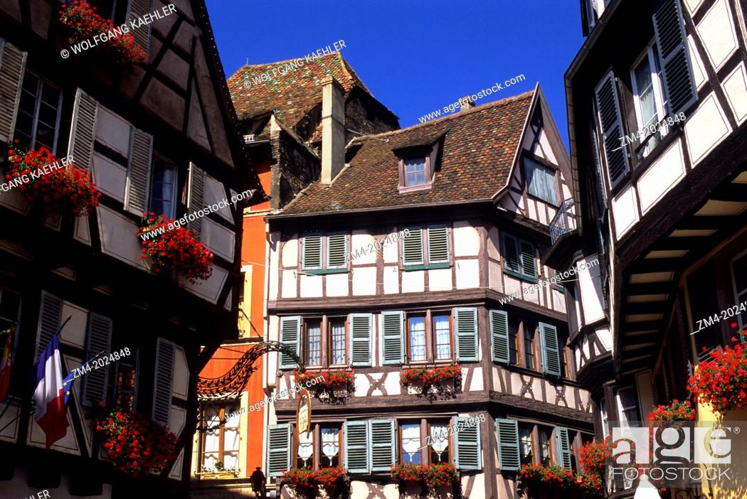 Stock Photo: FRANCE, COLMAR, HALFTIMBERED HOUSES.