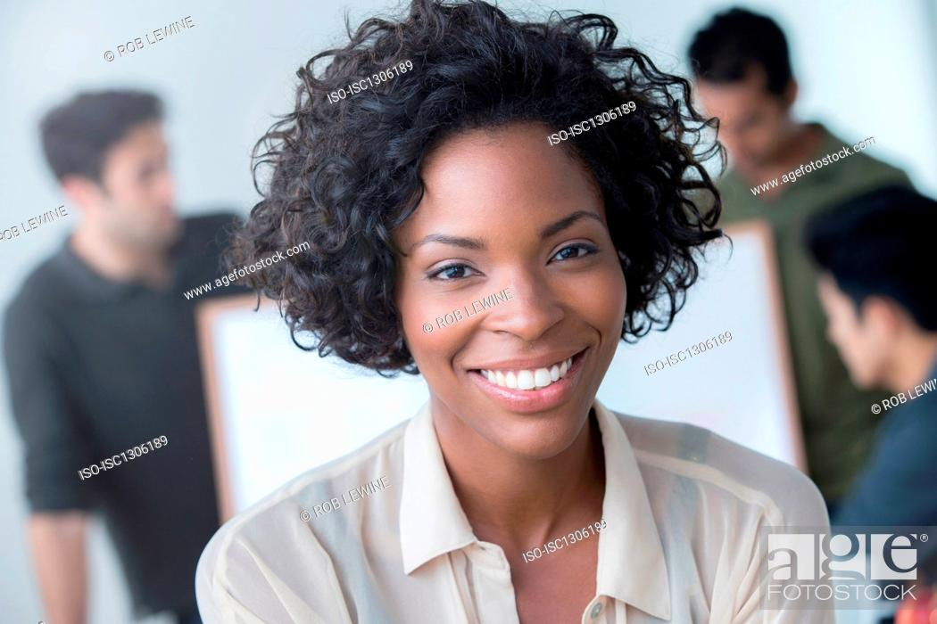 Stock Photo: Portrait of woman in office.