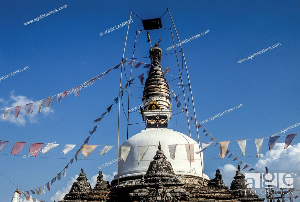 Stock Photo: nepal, katmandu, kirtipur stupa.