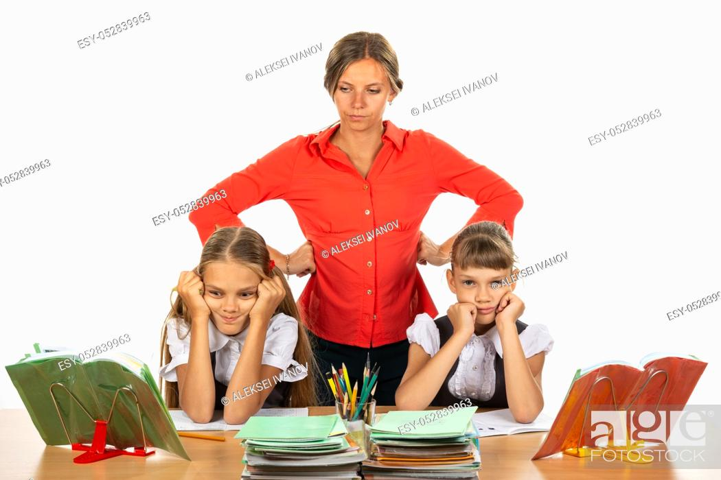 Stock Photo: The teacher reports to children who do not want to study.