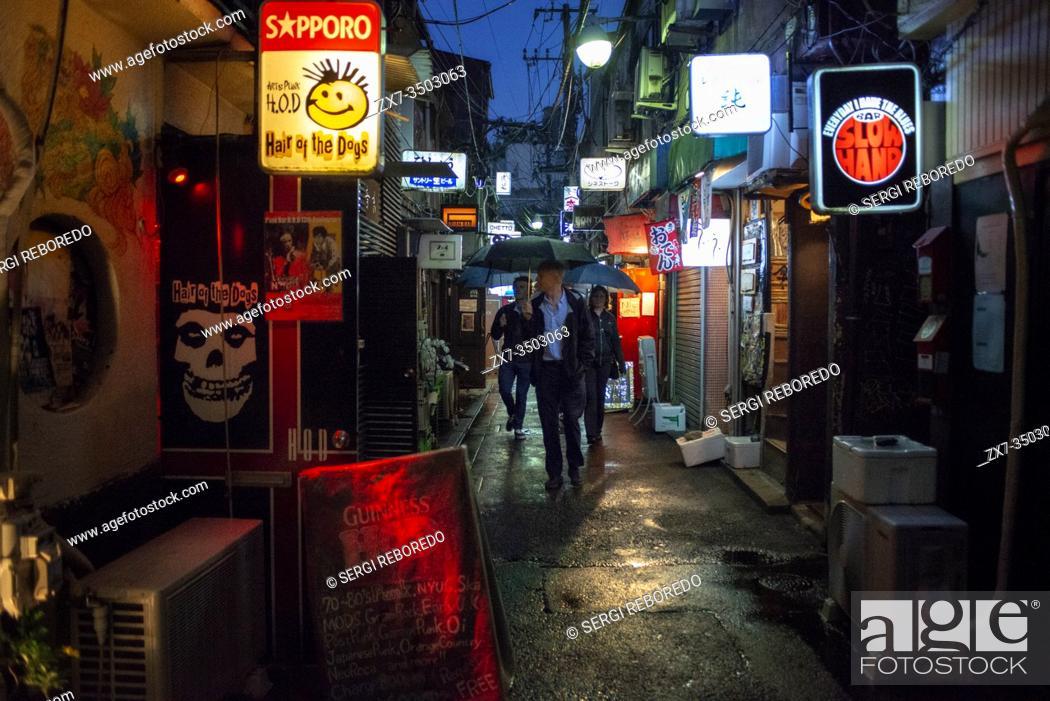 Stock Photo: Bars and restaurants in The Golden Gai district, Shinjuku Honshu island, Kanto, Tokyo, Japan.