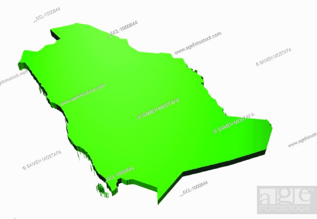 Stock Photo: map of Saudi Arabia.